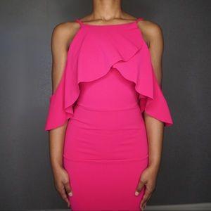 ASOS Textured Cold Shoulder Ruffle Midi Dress